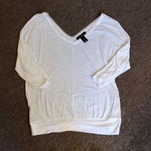 WHBM white double v neck shirt with sequin detail
